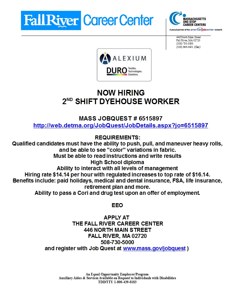 8/8/8 Weekly Hot Jobs from the Fall River Career Center